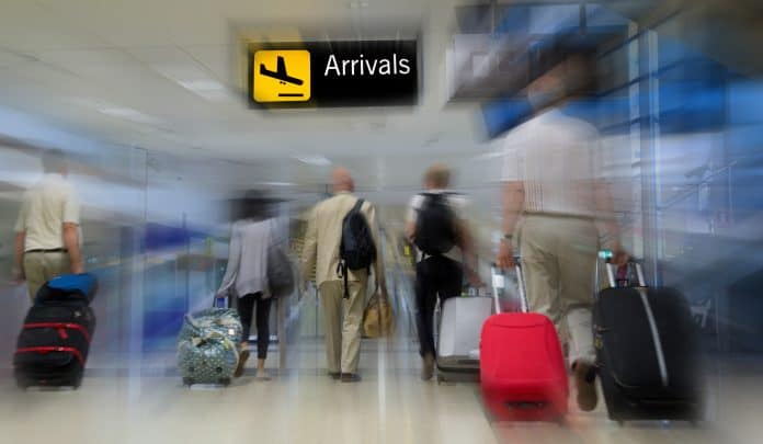 airport arrival stock